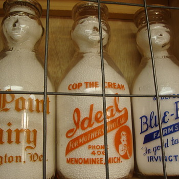 Ideal Dairy (Menominee Mich) Used BOTH a Cop The Cream & Baby Top Version................ - Bottles