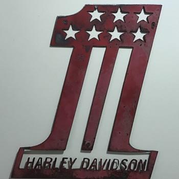 70s Harley Davidson Handmade Racing Sign - Motorcycles