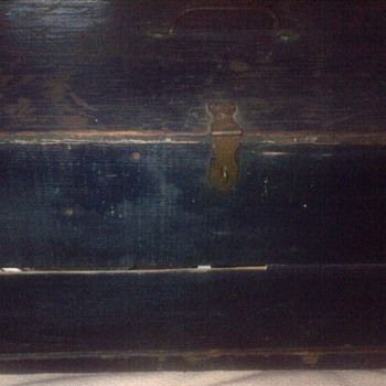 Old blue painted box
