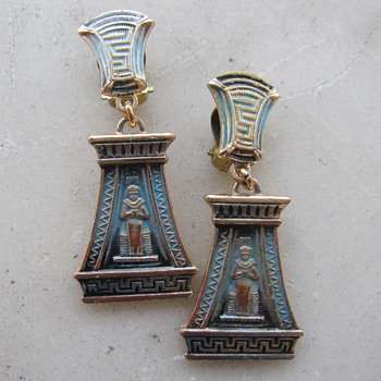 Dimestore Egyptian revival earrings - Costume Jewelry