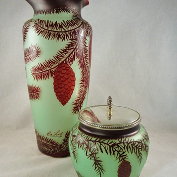 Loetz pine cameo vase and lidded jar - Art Glass