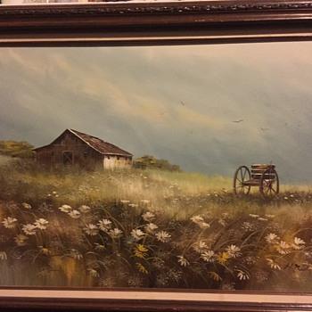 Oil Farm Landscape Signed H. Nelson - Fine Art