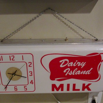 Dairy Island lighted clock sign 1960s - Advertising