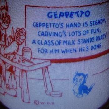 "Disney ""Geppetto"" milk bottle Ka-Vee Milk....Belleville, Pa. - Bottles"