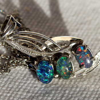 Opal doublet pendant and chain, and a friend - Fine Jewelry