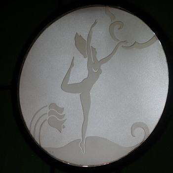 Art Deco Etched Glass Medallions - Art Deco