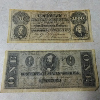 COPY OF CONFEDERATE MONEY - US Paper Money