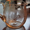 LOVELY ROSE ETCHED GLASS PITCHER