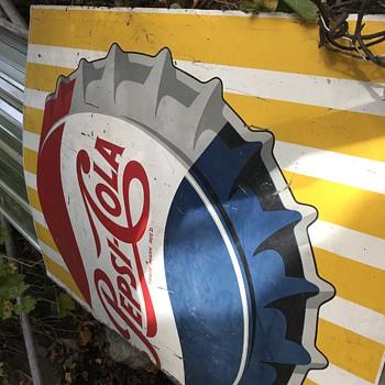 Half a Large Metal Pepsi Sign - Advertising