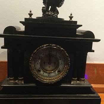 Ansonia clock black iron mantle clock - Clocks