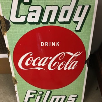 1950's Drink Coca-Cola, Candy, Films Sign - Coca-Cola