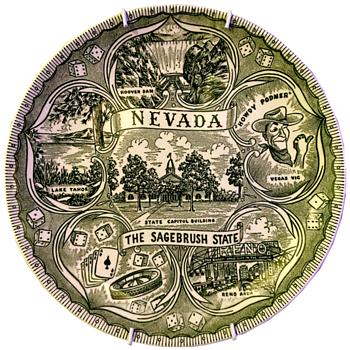 Green Transferware State Souvenir Plates - Advertising