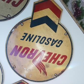 5 Antique Chevron Tin pump signs - Petroliana
