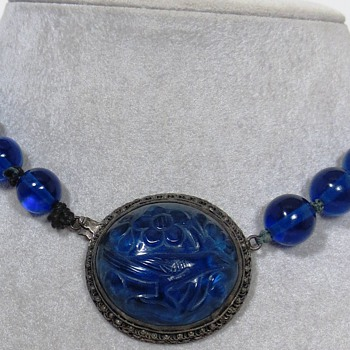 Antique Chinese Silver and Cobalt Blue Glass Bird Choker Necklace - Asian