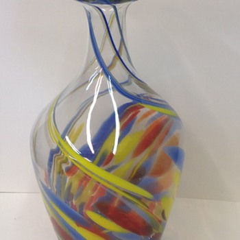 Large tall multi color vase/bottle - Art Glass