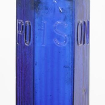 Large Cobalt Blue Admiralty Hexagonal Poison Bottle - Bottles