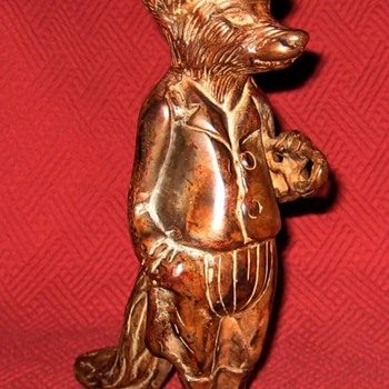 Vintage Bronze  Equestrian Rider Fox Sculpture - Animals