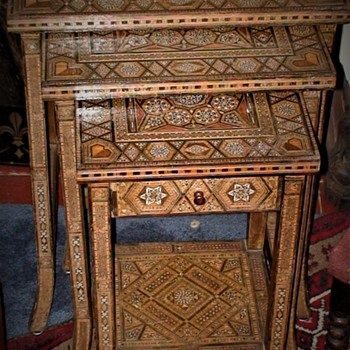 Vintage Handcrafted Moorish Nest of Tables with Inlaid Motifs   - Furniture