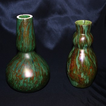 Unknown Art Glass Bohemian (?) Vases - Art Glass