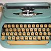 Vintage 1960's Aqua Singer Portable Typewriter