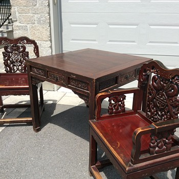 Antique Chinese wood table and 2 chairs
