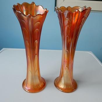 Dugan/Diamond Carnival Glass Vases. - Glassware