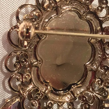 Brooch with faux stones and safety pin and chain - Costume Jewelry