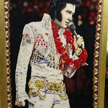 VINTAGE ELVIS PRESLEY CLOTH ARTWORK - Music Memorabilia