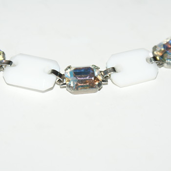 Milk Glass and Aurora Borealis Crystal Choker Necklace - Costume Jewelry