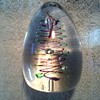 Egg Shaped Paperweight/ Controlled Bubbles with Multi Colored Spirals/Signed Unknown Age