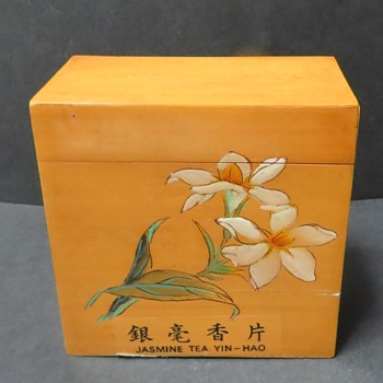 Wooden Chinese Box - Souvenir Jasmine Tea Box from 1990's - Asian