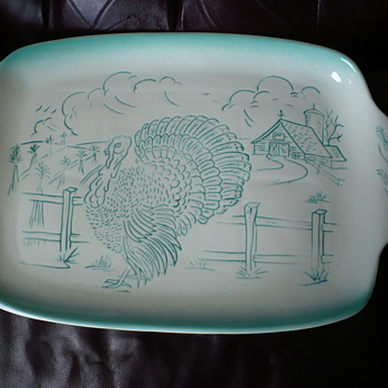 Bell Calif USA Regtangular Large Turkey Tray  Teal - China and Dinnerware