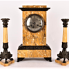 French clock garniture set with a pair of candlesticks