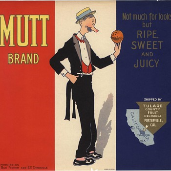 Mutt & Jeff Orange Crate Label Porterville, Tulare County - Advertising