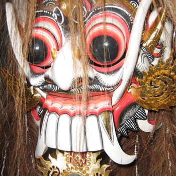 Rangda, The Widow, The Queen of Evil.  Antique Bali Carved Mask and Costume used in ritual ceremonies. - Folk Art