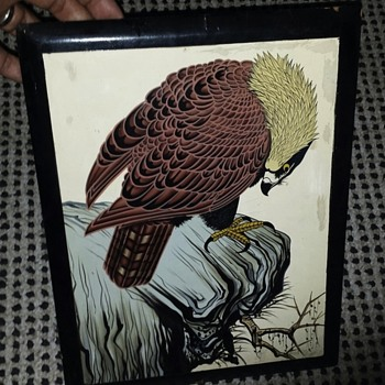 Very Old Signed Chinese Painting Of Hawk Or Eagle? on Lacquer Frame - Asian