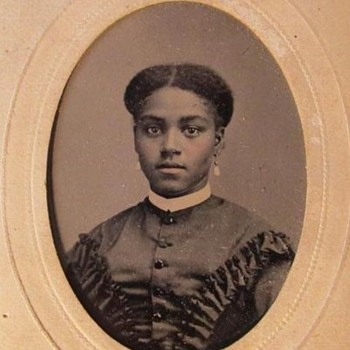 Beautiful African American Woman tintype in cdv mount - Photographs