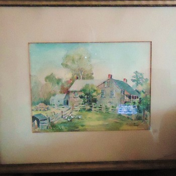 1920 watercolor painting, can not find artist