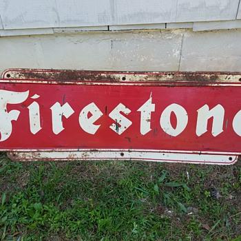 Firestone metal sign