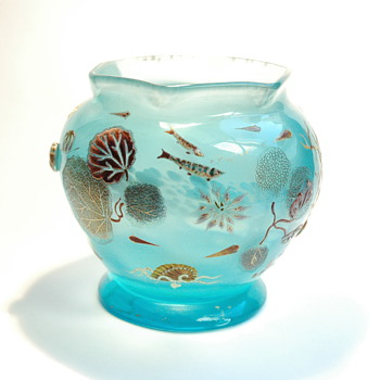 rare aquatic scene cristal vase by DESIRE CHRISTIAN for VALLERYSTHAL circa 1890-1898 - Art Nouveau