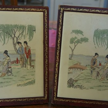 antique japanese tile bookends - Asian