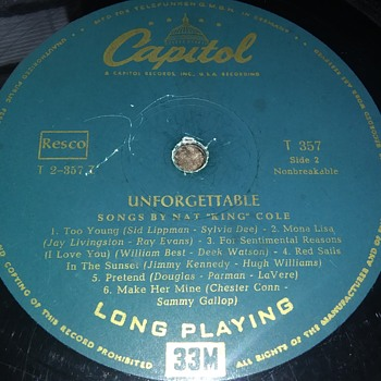 Mr. Nat King Cole..Early..On 33 1/3 RPM Vinyl - Records