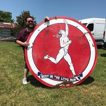 6 foot Marathon Porcelain sign. - Petroliana