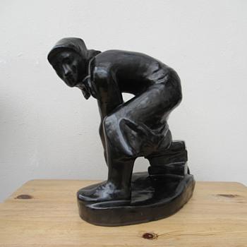 Socialist-Realist clay sculpture by F. Mentlik (Czechoslovakia)