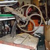 1800's cast iron hand crank tool  three wheel leather weaver machine