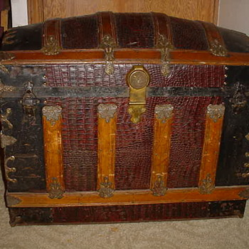 Travel Trunk/Chest with Alligator Skin cover - Furniture