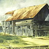 "Sharon Day Oil Painting on Canvas""Old Barn""20 century"