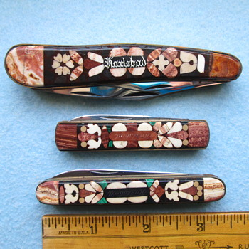 Three Souvenir Knives From Karlsbad (Karlovy Vary) Having Stone Mosaic Handles – ca. 1900 - Tools and Hardware
