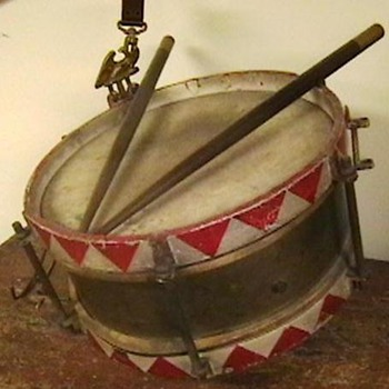 Original WW II German Youth Snare Drum with Sticks and Hanger - Military and Wartime