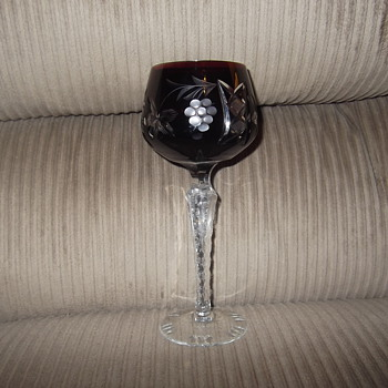 Bohemian Cranberry cut to clear goblet - Glassware